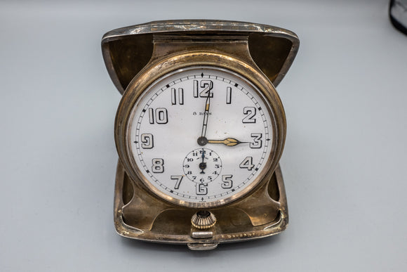 B. Kerr Antique 18K and Sterling Silver 8 Day Travel Clock