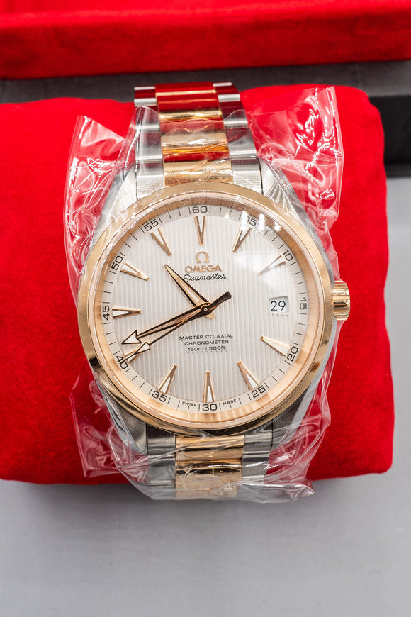 New Omega Aqua Terra 41mm 18K Rose Gold and Stainless Steel Watch Cards Box Cert