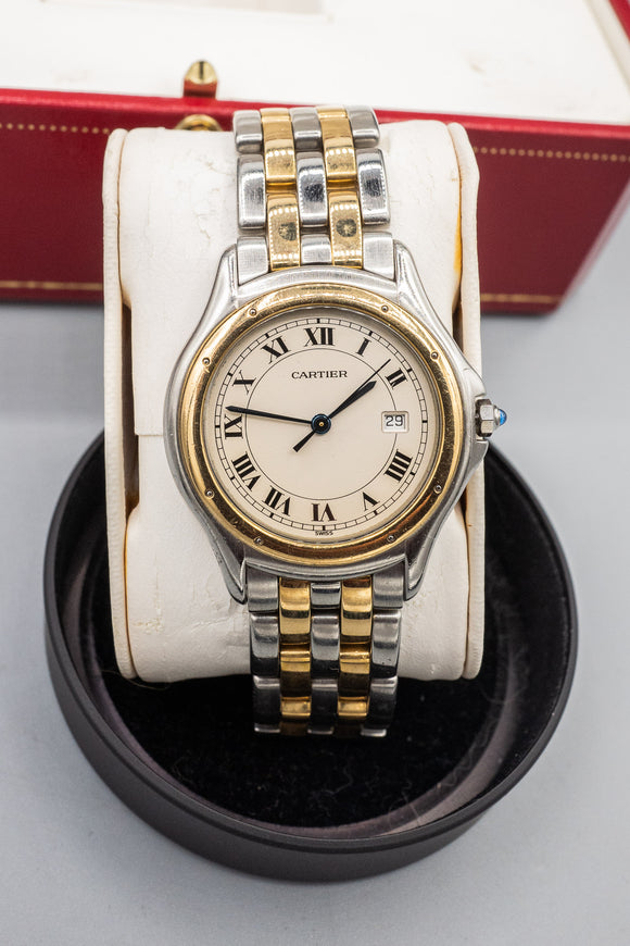 Cartier Cougar 18K And Sterling Silver Watch With Box
