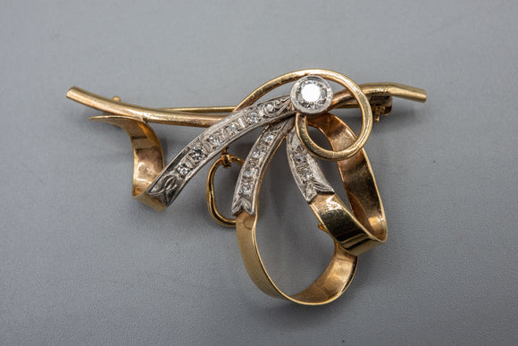 Vintage Forstner 10K Yellow Gold Diamond Brooch Pin With Old European Diamond
