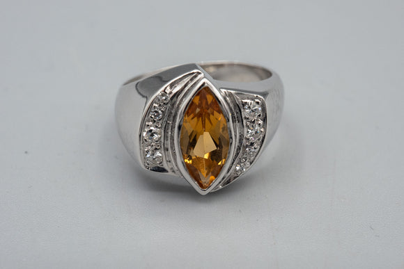 Vintage 14K White Gold Unisex Citrine Marquise And Diamond Ring