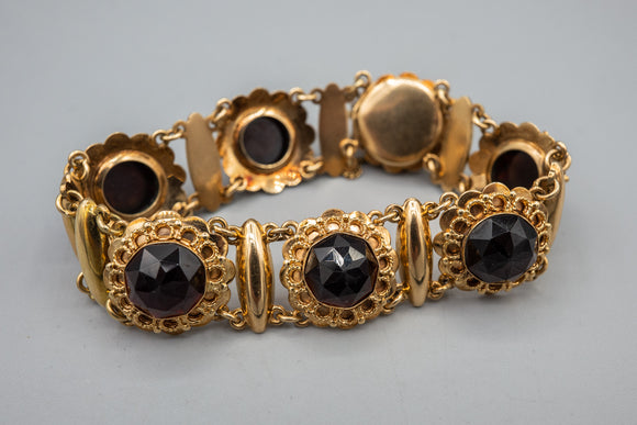 Vintage Dutch 14K Yellow Gold And Natural Rose Cut Garnet Bracelet