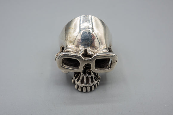 Custom Made Sterling Silver Steampunk Goth Skull Ring Size 13