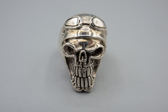 Custom Made Sterling Silver Steampunk Skull Biker Ring