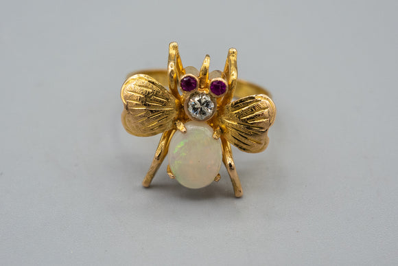 Vintage 22K Yellow Gold Opal Diamond Fly Bug Ring Old European Diamond