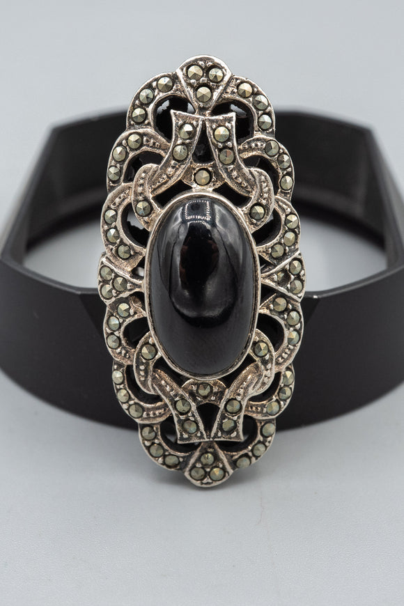 Vintage XL Sterling Silver Marcasite Onyx Statement Ring