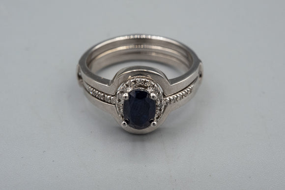 10K White Gold Sapphire And Diamond Ring With Sleeve