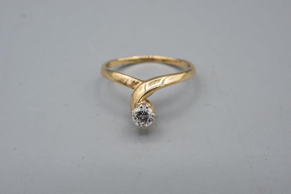 Vintage 14K Yellow Gold Diamond Solitaire Ring