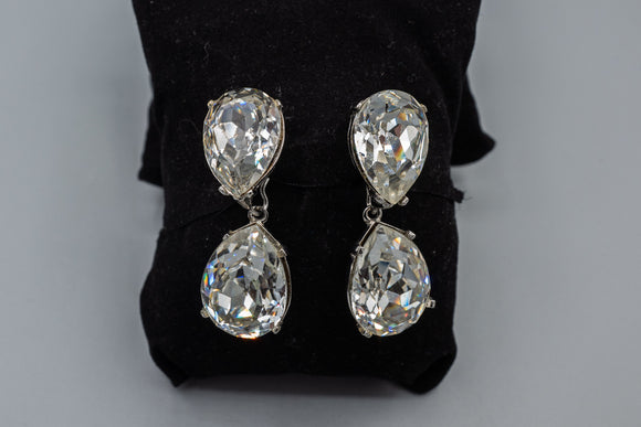 KJL Kenneth Jay Lane Large Rhinestone Clip On Earrings