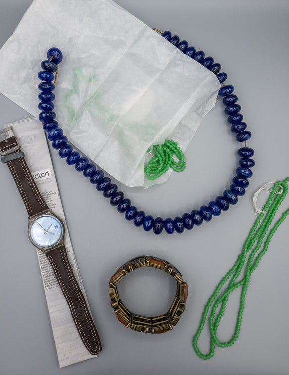 Lot of Costume Jewelry, Green Beads for Repair, and Swatch