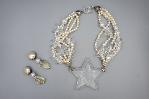 Costume Jewelry Faux Pearl and Plastic Star Necklace and Clip On Earring Set