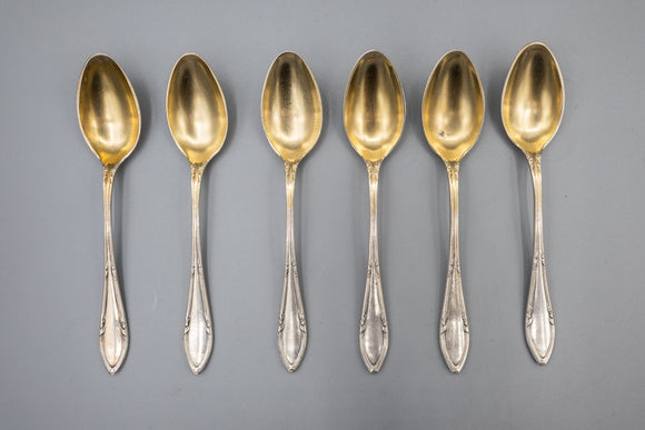 German 800 Silver Demitasse Spoons with Gold Wash Set of 6