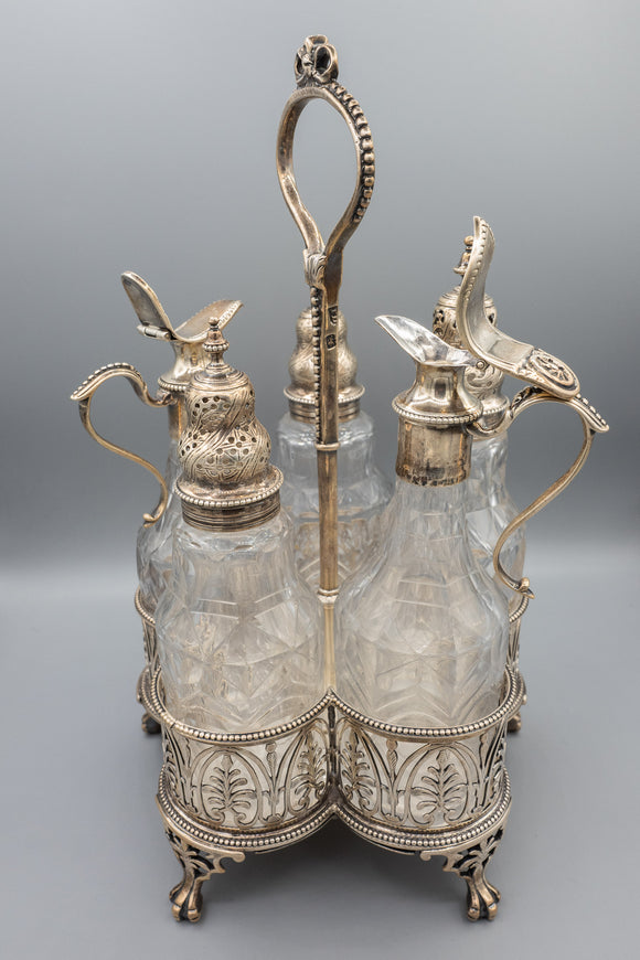 Antique Thomas Daniel Sterling Silver Cruet Set Circa 1775