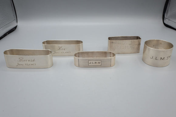 Sterling Silver Napkin Rings Lot of 5