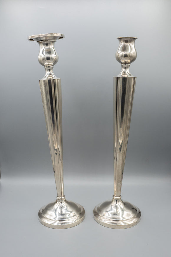 Weighted Sterling Silver Tall Candlestick Pair