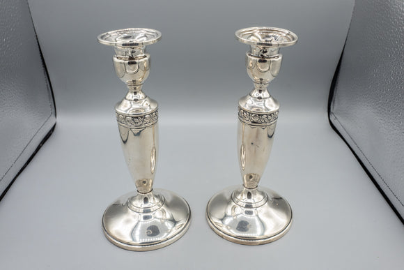 Weighted Sterling Silver Floral Candlestick Pair
