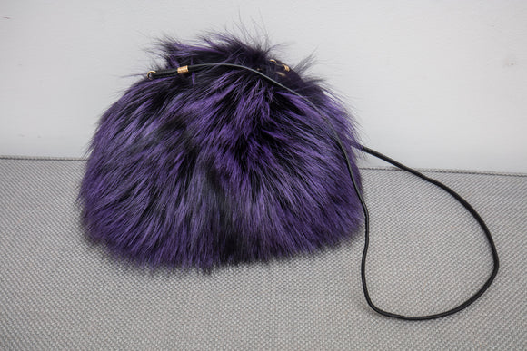 Authentic David Appel Purple Black Muff Purse Bag Retail $795