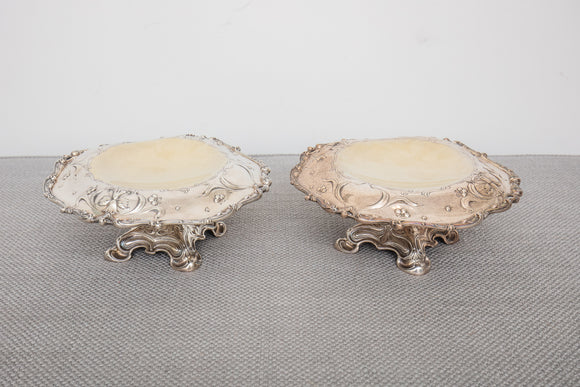 Gorham Sterling Silver Spaulding and Co Daffodil Tazza Compote Pair Gold Washed Top