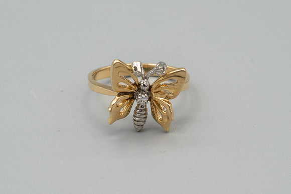 14K Yellow and White Gold and Diamond Butterfly Ring Size 6.5