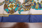 "Hermes Blue Silk Scarf of Birds 32"" x 34"" AS IS"