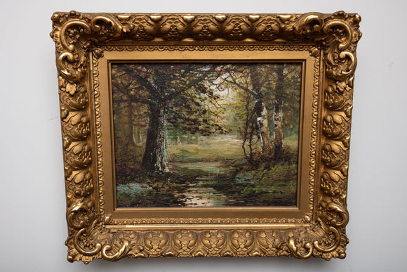 Antique Forestscape Oil Painting in Gold Gilt Frame
