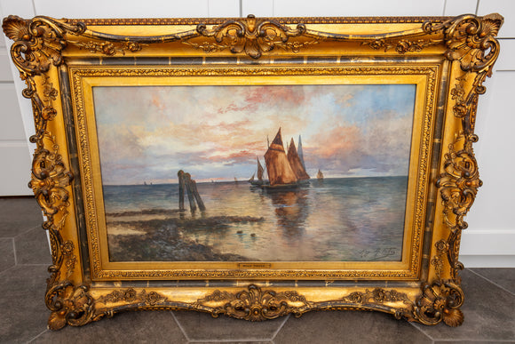Antique Hugo Anton (Antoine) Fisher (1854-1916) Large Seascape Watercolor