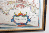 Antique Hand Colored Map of Midlesex by Robert Morden