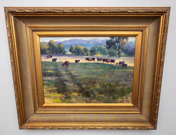 "Ebrahim Amin (b. 1950), ""Back to Barn"" Landscape with Cows, Oil on Canvas"