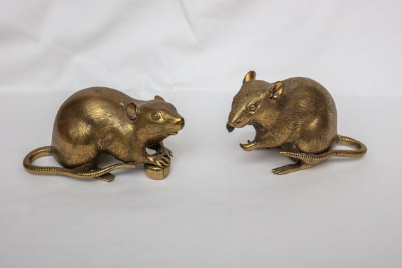 Chinese Brass Mice Pair