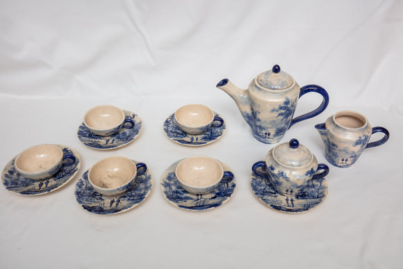 Vintage 14 Piece Blue Transferware Childs Tea Set Probably English