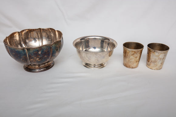 Sterling Silver Lot Including James Wooley Bowl, Lunt Bowl, and Two Jiggers