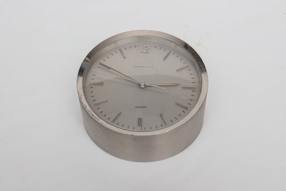 Tiffany and Company Chrome Quartz Desk Clock As Is