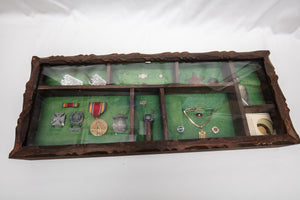 Vintage Shadowbox of Military Pins, Fraternity Pin, US Coins