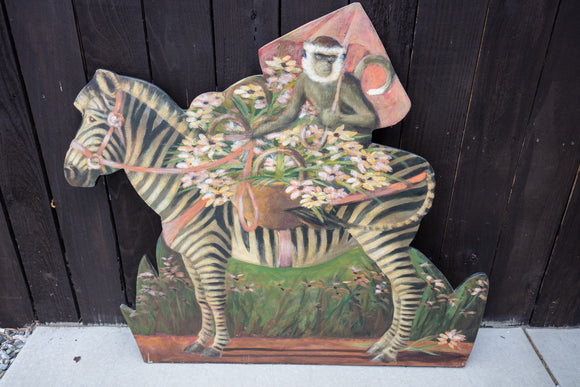 Painted Wood Fireplace Screen of Monkey and Zebra