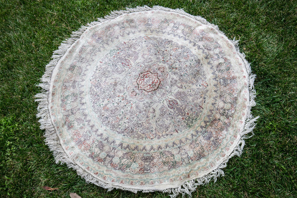 "Contemporary Chinese Silk Circular Rug 48"" Diameter"