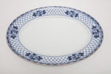 "Antique F & Sons Ltd Burslem English Flow Blue 14 7/8"" Long Gold Rim Serving Platter"