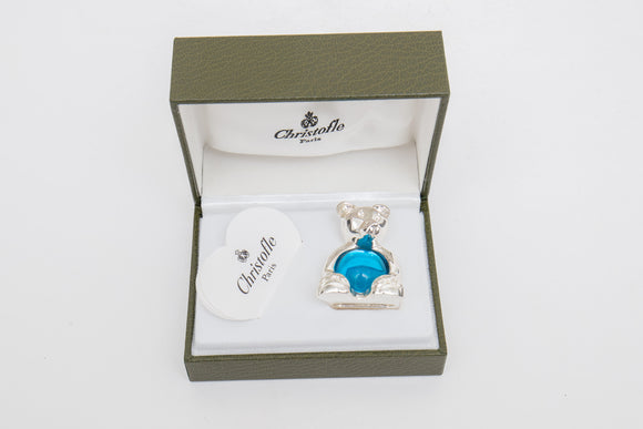 Christofle Paris Silverplate Bear with Blue Cabochon Glass Paperweight in Box