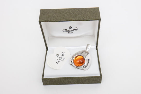 Christofle Paris Silverplate Sparrow Bird with Orange Cabochon Glass Paperweight in Box