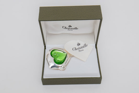 Christofle Paris Silverplate Fish with Green Cabochon Glass Paperweight in Box
