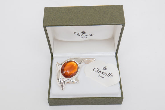 Christofle Paris Silverplate Dolphin with Orange Cabochon Glass Paperweight in Box