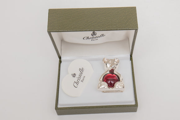 Christofle Paris Silverplate Bear with Red Cabochon Glass Paperweight in Box
