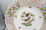 "Herend ""Rothschild Bird"" Reticulated 9 1/2"" Diameter Luncheon Accent Display Plate"