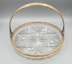 "800 Silver German Cut Crystal Basket Plate 8 1/4"" Diameter"