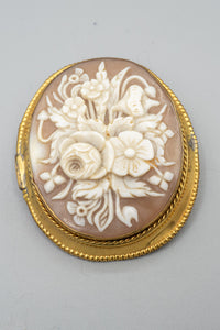 Antique Italian Gold Filled Cameo Floral Brooch Pin