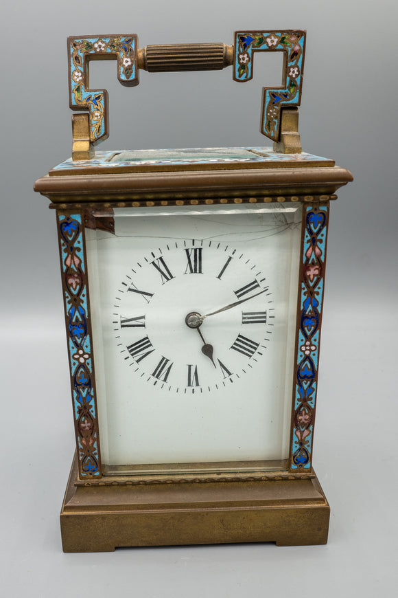 Antique Carriage Clock with Enamel/Cloisonne