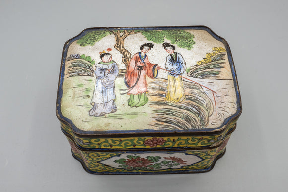 Vintage Signed Chinese Enamel Cloisonne Box As Is