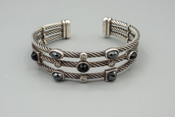 David Yurman Confetti Cuff Bracelet Diamonds, Onyx, Hematite, and Sterling Silver