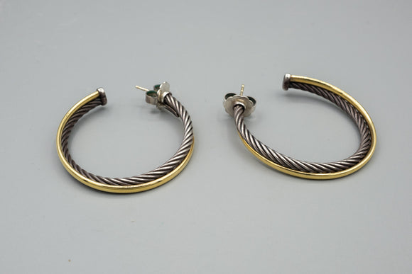 David Yurman Sterling Silver and 18K Gold Hoop Earrings