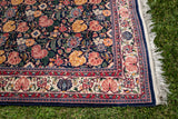 "Vintage Kerman Persian Rug Blue and Multi-Colored Floral Field 6' 1"" Long x 4' 1"" Wide"