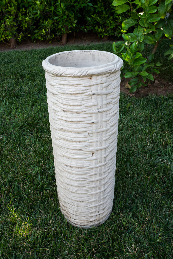 Jerome Massier France Vintage Ceramic Basketweave Umbrella Stand